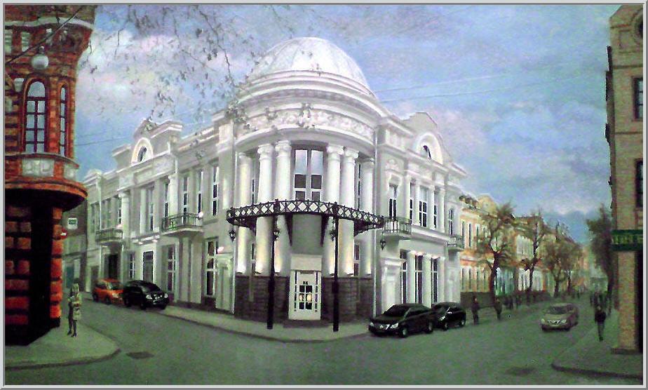 Картина из серии - Живопись городской пейзаж. На картине показана архитектура старых зданий в центре города. Работа выполнена на холсте маслянными красками название картины - Центральная улица Кировограда