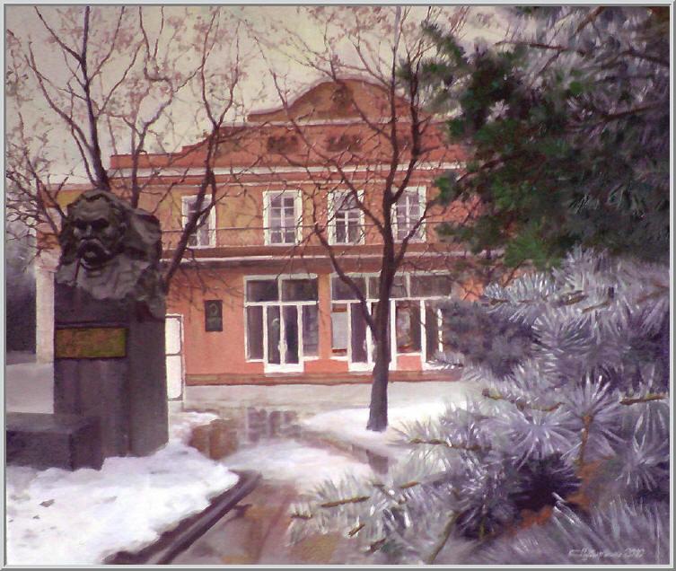 Картина из серии - Живопись городской пейзаж. Один из первых театров в Украине. Работа выполнена на холсте маслянными красками название картины - Кировоградский театр