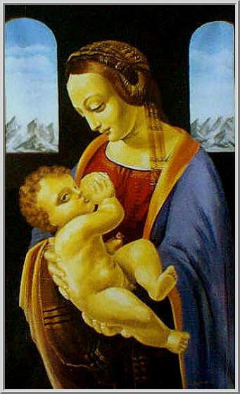 Икона копия выполненная на холсте маслянными красками Леонардо да Винчи - Мадонна с младенцем (Мадонна Литта)