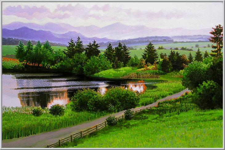 Картина из серии времена года - Летний пейзаж. Заповедник нетронутая человеком природа, панорама горы река. Работа выполнена на холсте маслянными красками название картины - Горизонт