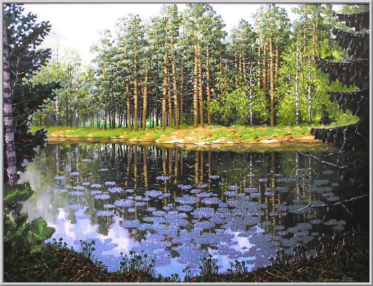 Картина из серии времена года - Летний пейзаж. Теплым летним днем бродя по лесу мы выходим к заросшему озеру. Работа выполнена на холсте маслянными красками название картины - Лесное озеро