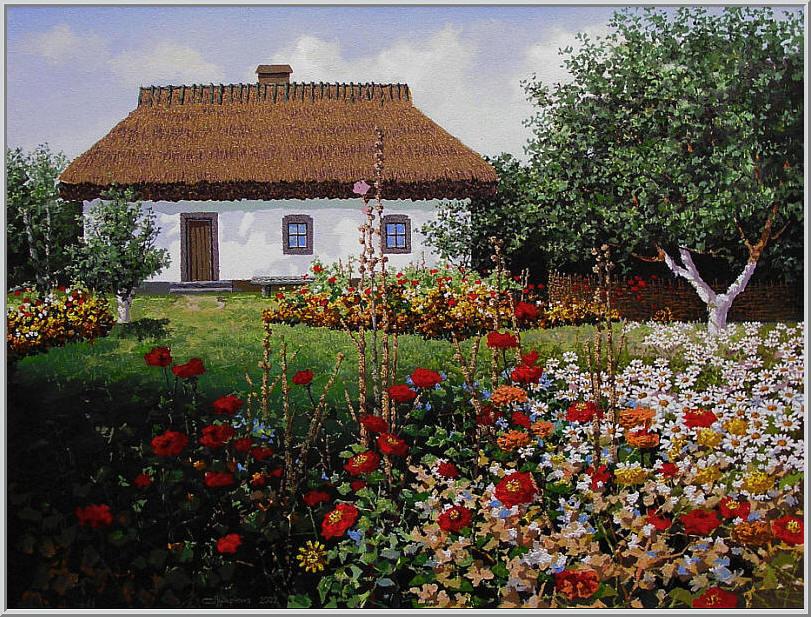 Картина из серии времена года - Летний пейзаж. Старый украинский дворик засаженный красивыми цветами. Работа выполнена на холсте маслянными красками название картины - Цветник во дворе