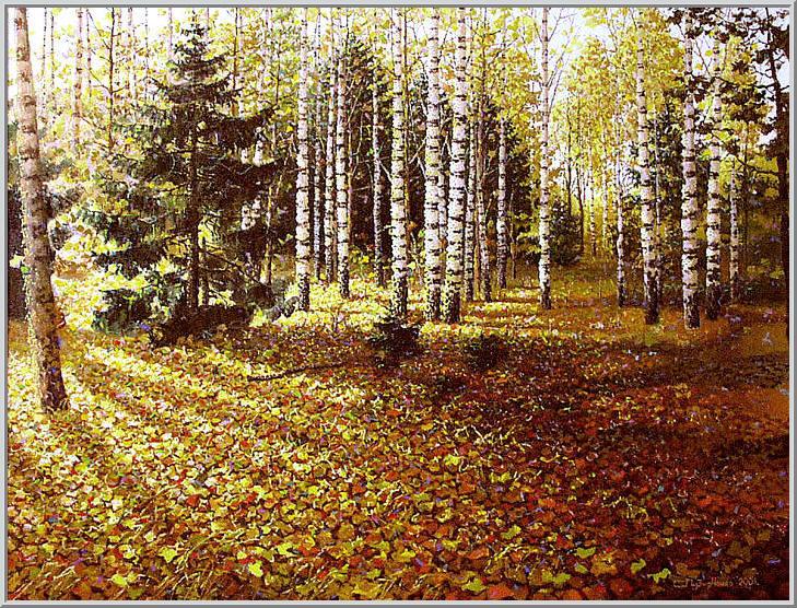 Картина из серии времена года - Осенний пейзаж. Золотыми красками переливаются листья осенним солнечным днем. Работа выполнена на холсте маслянными красками название картины - Осень золотая