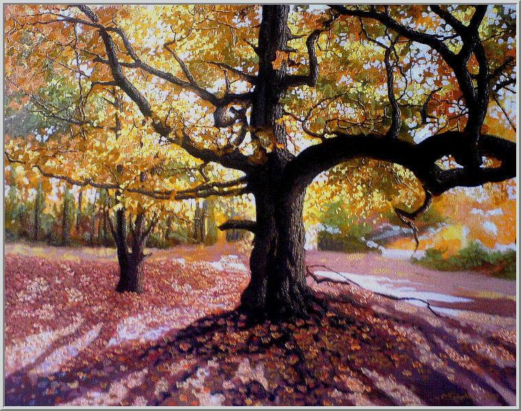 Картина из серии времена года - Осенний пейзаж. Столетний дуб раскинул свои мощные ветви и как дирижер исполняет осеннюю симфонию жизни. Работа выполнена на холсте маслянными красками название картины - Осенняя симфония