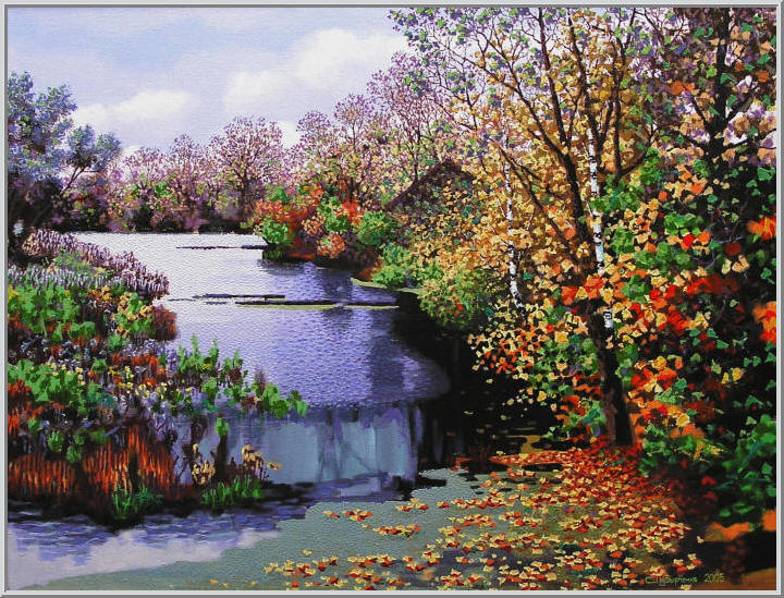 Картина из серии времена года - Осенний пейзаж. Осенние листья как маленькие кораблики плывут по реке и пришвартовуются в тихой гавани. Работа выполнена на холсте маслянными красками название картины - Осенняя река