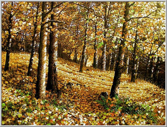 Картина из серии времена года - Осенний пейзаж. Немного грустно что закончилось лето, но зато перед нами красивый осенний пейзаж. Работа выполнена на холсте маслянными красками название картины - Осеннее настроение
