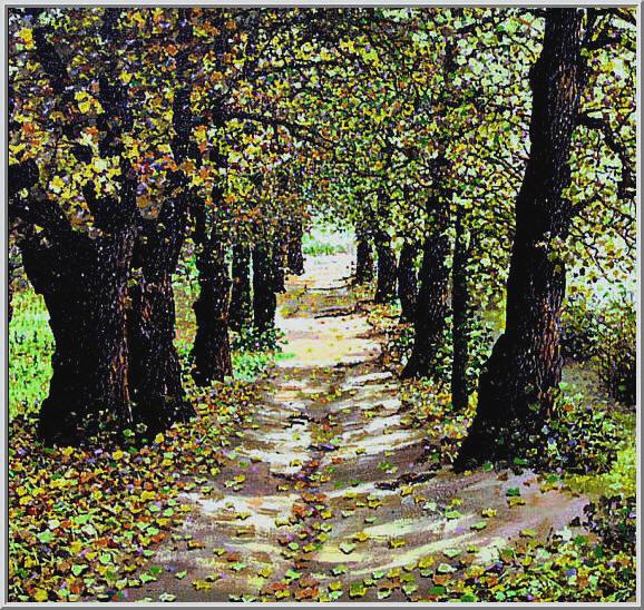 Картина из серии времена года - Осенний пейзаж. Старая парковая аллея осенью, в таких местах приходят воспоминания о прошлом. Работа выполнена на холсте маслянными красками название картины - Осенняя аллея