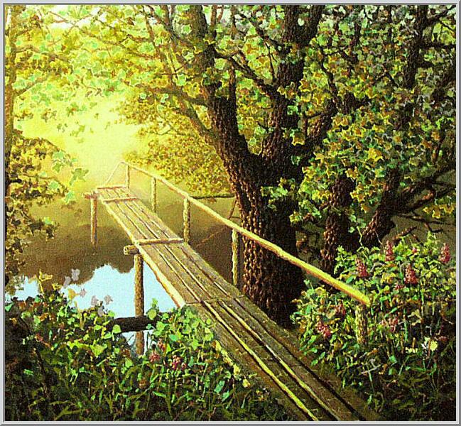 Картина из серии времена года - Осенний пейзаж. Кладка на рассвете ранней осенью словно мостик в светлое будущее. Работа выполнена на холсте маслянными красками название картины - Кладка