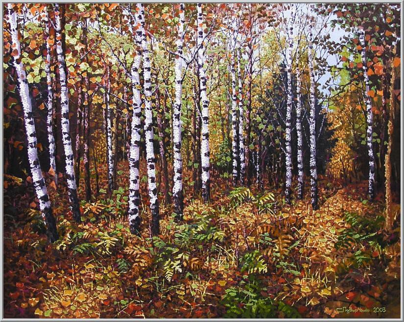 Картина из серии времена года - Осенний пейзаж. Богатая палитра красок завараживает в осеннем лесу. Работа выполнена на холсте маслянными красками название картины - Осенний лес