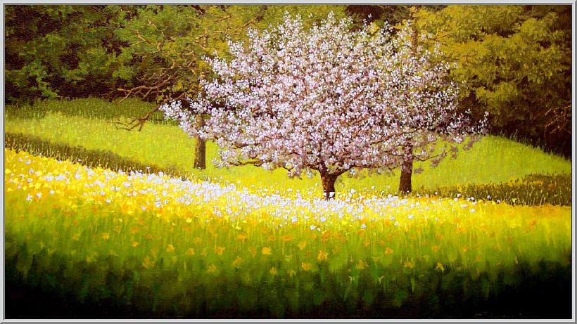 Картина из серии времена года - Весенний пейзаж. Теплый весенний день, природа налилась свежей зеленью вот и зацвела дикая вишня. Работа выполнена на холсте маслянными красками название картины - Пейзаж весенний
