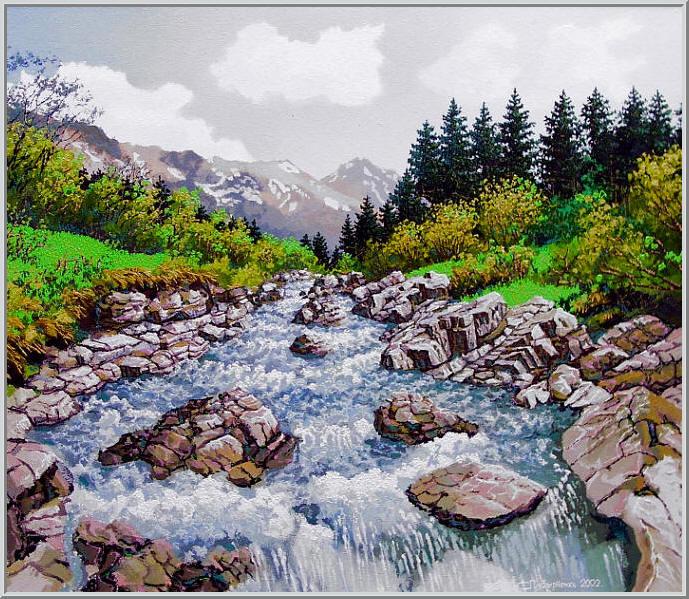 Картина из серии времена года - Весенний пейзаж. Горный весенний пейзаж, от звонко бегущей реки отдает прохладой. Работа выполнена на холсте маслянными красками название картины - Горная река весной