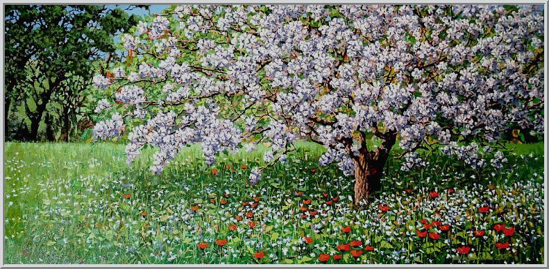Картина из серии времена года - Весенний пейзаж. Как невеста покрылась белым цветом старая яблоня - жизнь продолается. Работа выполнена на холсте маслянными красками название картины - Яблоня
