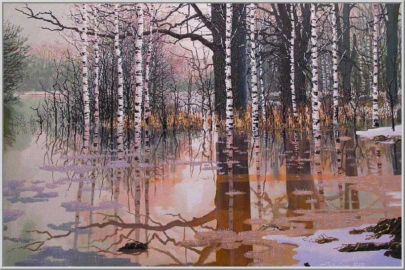 Картина из серии времена года - Весенний пейзаж. Наконец-то закончилась холодная зима и от тающего снега река вышла из своих берегов. Работа выполнена на холсте маслянными красками название картины - Весенняя оттепель