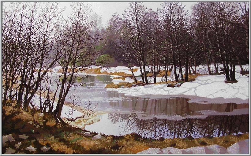 Картина из серии времена года - Весенний пейзаж. Весенняя погода тает снег на реке уже почти не осталось льда, на деревьях набухли почки. Работа выполнена на холсте маслянными красками название картины - Весенняя река