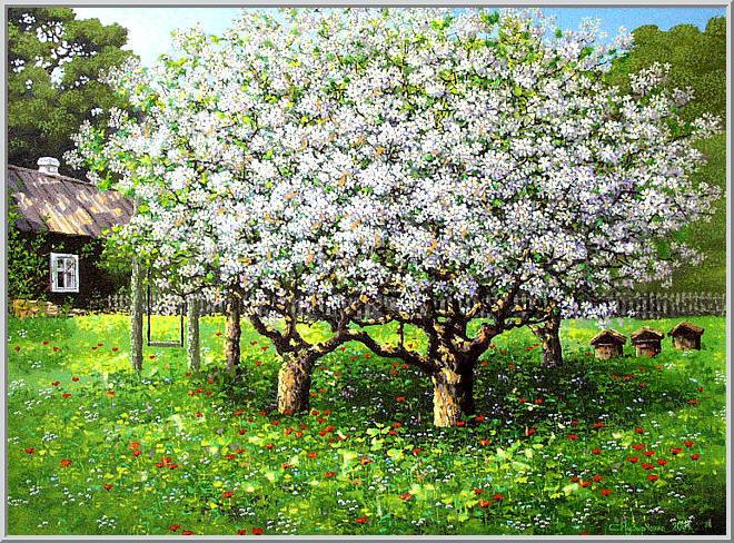 Картина из серии времена года - Весенний пейзаж. Весенний аромат цветущих яблонь привлекает пчел собирать нектар - значит будем с медом. Работа выполнена на холсте маслянными красками название картины - Цветущие яблони