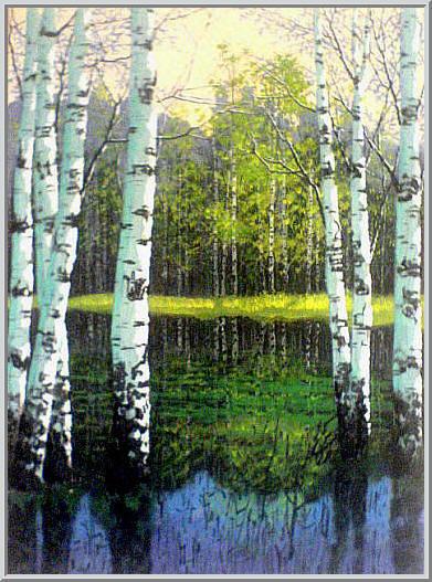 Картина из серии времена года - Весенний пейзаж. Белые березы на берегу весенней реки распускают листья - красота жить хочется. Работа выполнена на холсте маслянными красками название картины - Весна