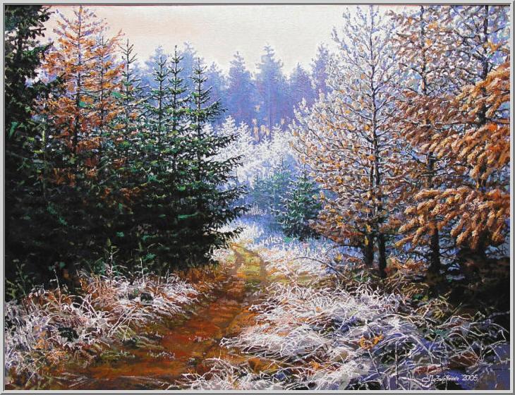 Картина из серии времена года - зимний пейзаж. Морозным солнечным утром деревья и высохшая трава покрылись серебрянным инеем. Вот и пришла зима. Работа выполнена на холсте маслянными красками название картины - Иней