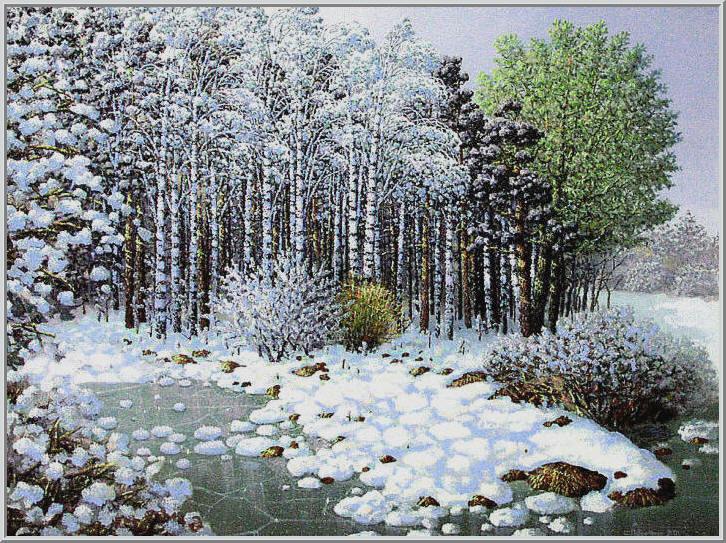 Картина из серии времена года - зимний пейзаж. Пришла зима искрится белый пушистый снег покрыв стволы деревьев и землю - новый год. Работа выполнена на холсте маслянными красками название картины - Пейзаж зимний