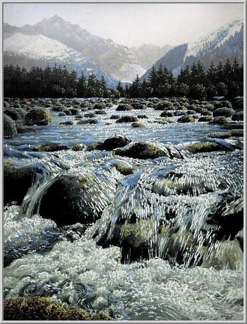 Картина из серии времена года - зимний пейзаж. Чистая прозрачная река, заснеженные горы освещенные солнцем, живописный зимний пейзаж в горах. Работа выполнена на холсте маслянными красками название картины - Горная река