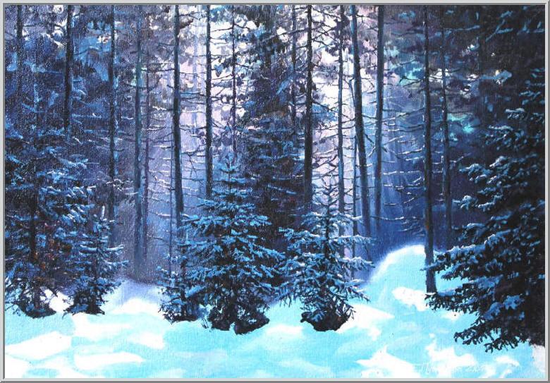 Картина из серии времена года - зимний пейзаж. Белым пушистым ковром снег покрыл землю. Ясный зимний день в лесу, солнечные лучи переплетаются с кромками деревьев. Работа выполнена на холсте маслянными красками название картины - Зимний лес