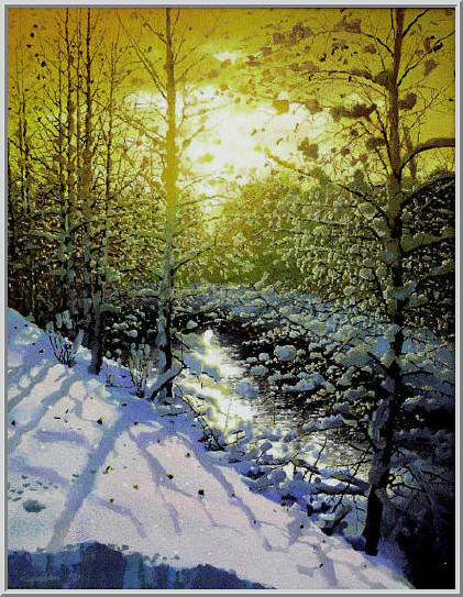 Картина из серии времена года - зимний пейзаж. Утренний рассвет, ослепительно ярко светит солнце отражаясь на покрытой льдом реке. Работа выполнена на холсте маслянными красками название картины - Зимнее утро