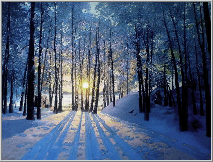 Картина из серии времена года - зимний пейзаж. Солнечное зимнее утро, лучи солнца ослепительно светят сквозь стволы деревьев - январь. Работа выполнена на холсте маслянными красками название картины - Январским утром