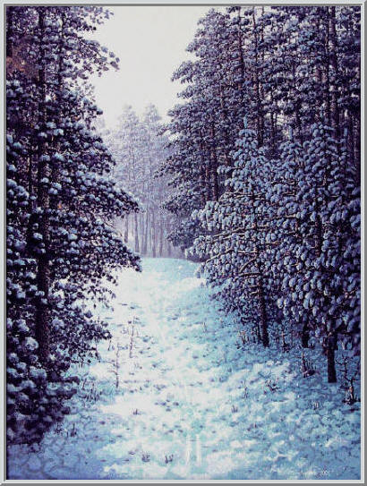 Картина из серии времена года - зимний пейзаж. Прекрасный зимний день, везде лежит белый пушистый снег, заснеженная дорога ведущая в лес. Работа выполнена на холсте маслянными красками название картины - Январские морозы