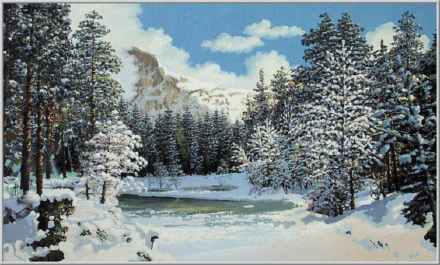 Картина из серии времена года - зимний пейзаж. Оледенелый скрип блестящий снег, высоко в горах покрытое прозрачным льдом озеро. Работа выполнена на холсте маслянными красками название картины - Горное озеро зимой