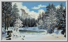 Горное озеро зимой.