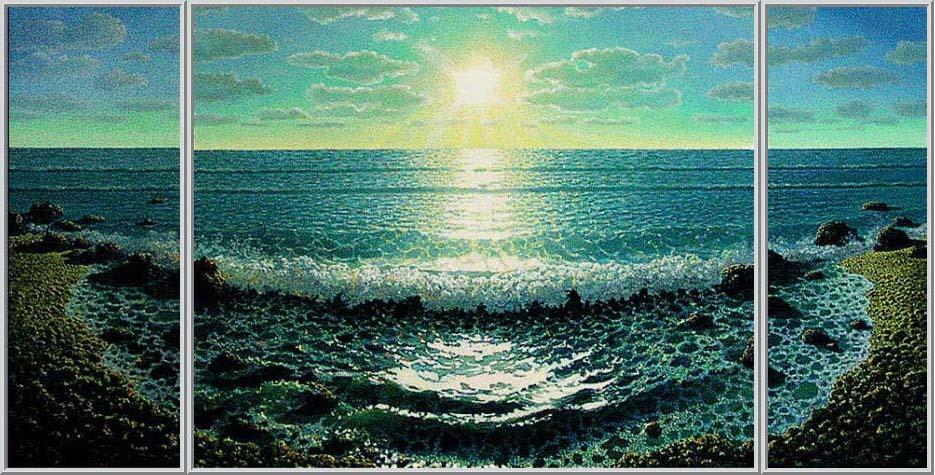 Картина закат море