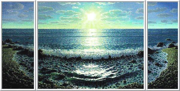 Изображение моря на холсте маслом.