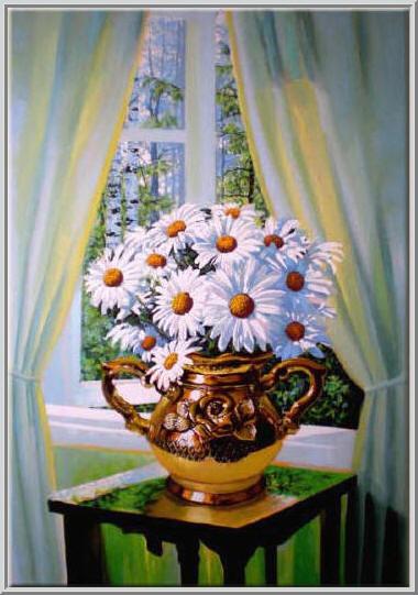 Картина из серии - натюрморт. Большой букет ромашек в красивой вазе стоящей у распахнутова окна освещенного солнцем. Работа выполнена на холсте маслянными красками название картины - весенний натюрморт