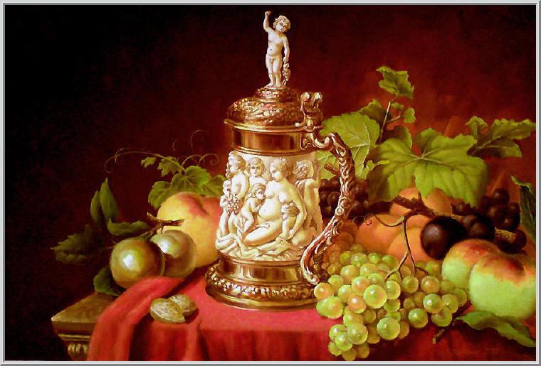 Картина из серии - натюрморт. Копия шедевра - золотая ваза с барельефом матери и детей, бархатная скатерть и фрукты. Работа выполнена на холсте маслянными красками название картины - копия натюрморт. Натюрморт с фруктами