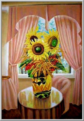 Картина из серии - натюрморт. Композиция в вазе - подсолнухи пшеница и калина в интерьере комнаты. Работа выполнена на холсте маслянными красками название картины - Натюрморт с подсолнухами