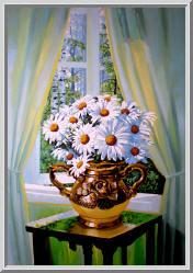 весенний натюрморт ромашки у окна