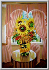 натюрморт с подсолнухами в вазе возле окна
